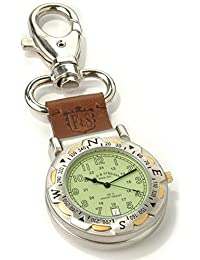 Men's Green Dial Spring Clip Multi-Function Outdoors Compass Leather Strap Pocket Watch
