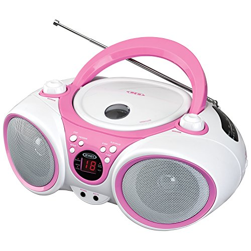 Jensen CD490PW Limited Edition 490 Portable Sport Stereo CD Player +CD-R/RW with AM/FM Radio and Aux Line-in and Headphone Jack, Pink (Disney Portable Radio)