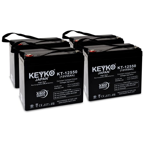 Everest & Jennings 3V 12V 55Ah Group 22NF SLA Sealed Lead Acid AGM Rechargeable Replacement Battery Genuine KEYKO - IT Internal Tread Terminal - 4 Pack by KEYKO