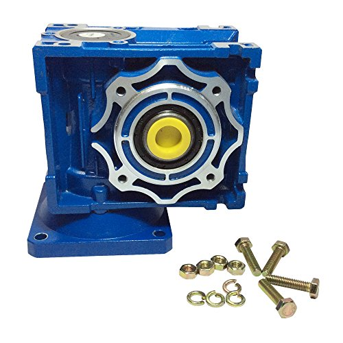 BEMONOC DC Right Angle Gearbox RV040 Reduction Ratio 1:7.5/10/15/30/40/50/60/80 Geared Speed Reducer Head Reversible