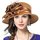 Women's Wool Church Dress Cloche Hat Plumy Felt Bucket Winter Hat (Floral-Camel)