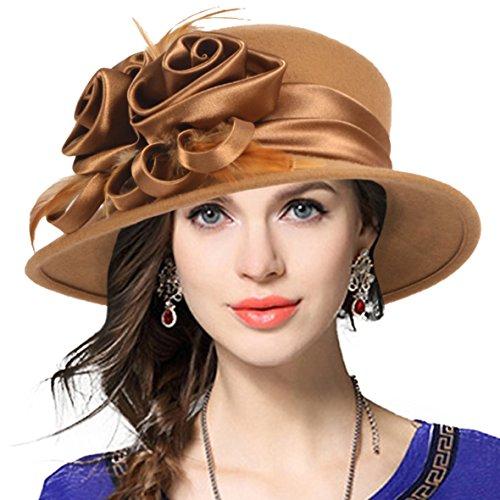 Dressy Wool Felt Hat (VECRY Women's Wool Church Dress Cloche Hat Plumy Felt Bucket Winter Hat (Floral-Camel))