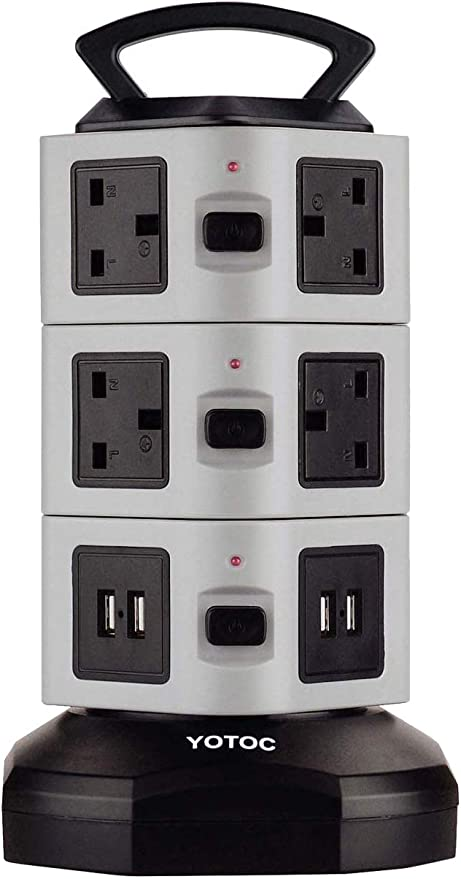 YOTOC 3M//9.8ft Switched Extension Lead,10 Way Outlets Vertical 10ac+4usb4