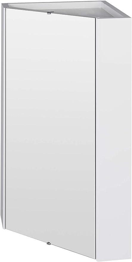 Veebath Linx Bathroom Corner Mounted Mirror Wall Hung Cabinet White High Gloss Shelf Furniture Unit 460mm Amazon Co Uk Diy Tools