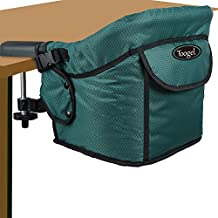 Hook on Chair, Toogel Clip on Table High Chair with 5-Point Harness, Steel Construction, Removable Washable Seat, Portable & Foldable Space Saving, Feeding Chair for Baby, with Carry Bag, Dark Green