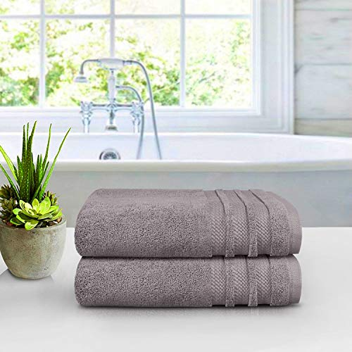 TRIDENT Luxury Hotel Collection, 100% Cotton, Highly Absorbent, Bathroom Towels, Super Soft, 2 Piece Bath Towel Set, 625 GSM, Purple Ash