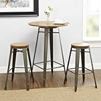 Better Homes and Gardens Harper 3-Piece Pub Set Bar-Style 42 Table with Two Seating 29 (Gun Metal)