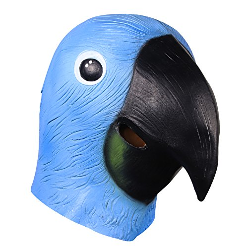 molezu Parrot Head Mask, Latex Animal Head Mask,Halloween Props Cosplay Costumes Decoration Cute Bird Mask Blue -