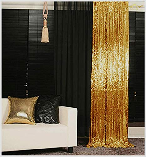 Sequin Curtains 2 Panels 2FTx8FT Gold Glitter Backdrop Gold Sequin Photo Backdrop Backdrop Curtains~M1120 2 Curtains Panels Drapes