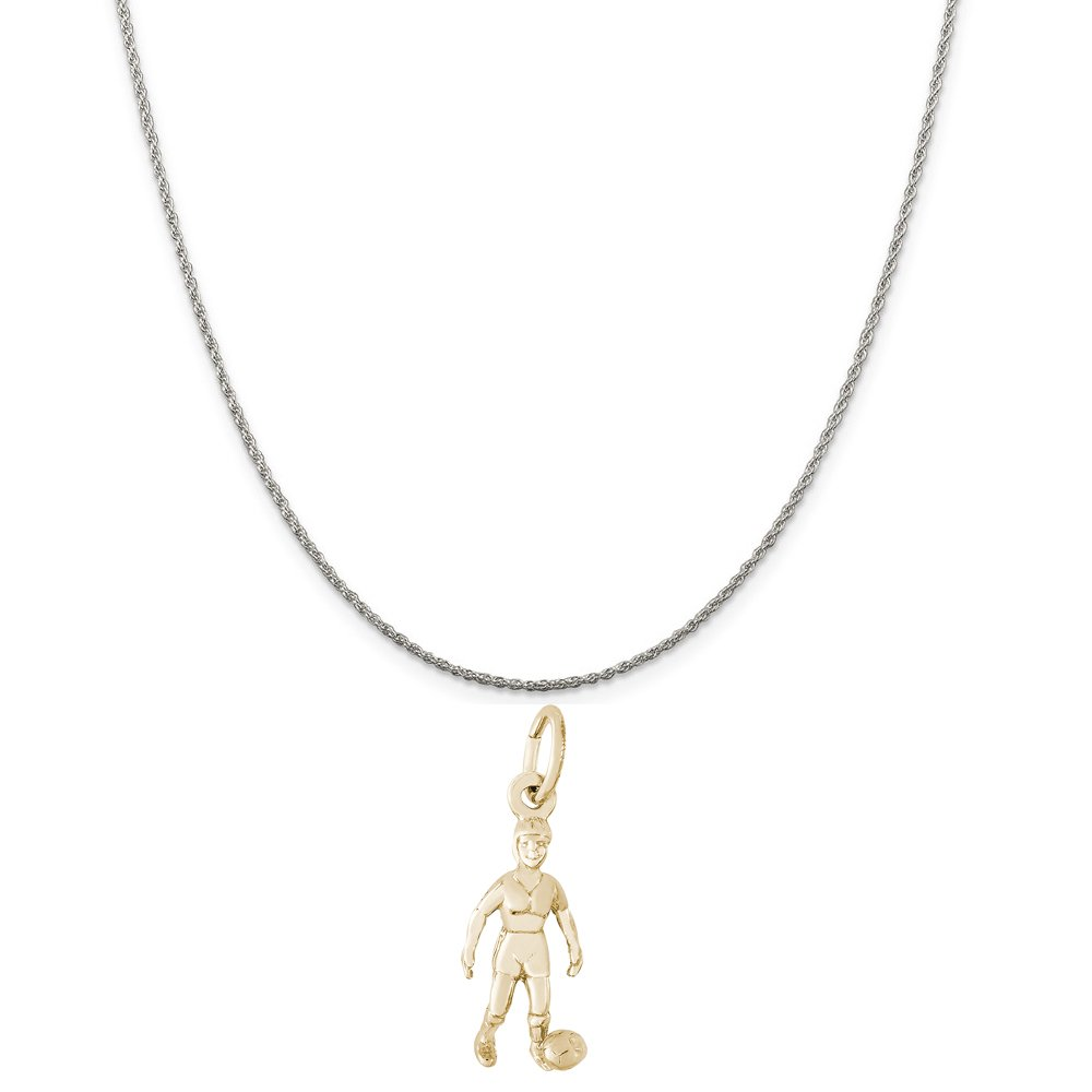 Rembrandt Charms Two-Tone Sterling Silver Female Soccer Charm on a Sterling Silver 16 Box or Curb Chain Necklace 18 or 20 inch Rope