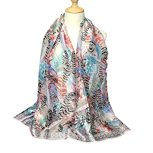 S&S Women's Lightweight Long Scarf Feather Print Oversized Shawl Wraps 71