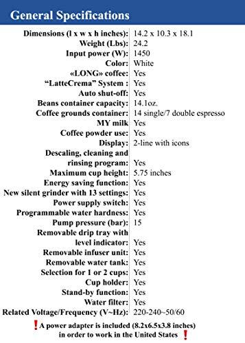 Delonghi super-automatic espresso coffee machine - with an adjustable silent ceramic grinder, double boiler, milk frother for brewing espresso, cappuccino, latte & macchiato, Eletta ECAM 45760 by DeLonghi (Image #6)