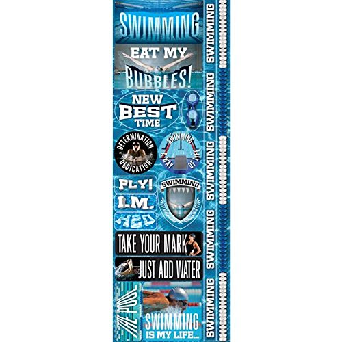 Reminisce Real Sport Die-Cut Cardstock Combo Stickers, 4.25 by 13-Inch, Swimming