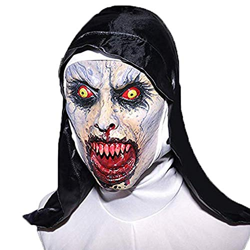 The Nun Mask, Hood Adult Scary Horrible Halloween mask for Women Costume Masquerade -