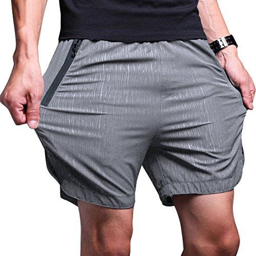 - LTIFONE Mens Gym Quick Dry Shorts Workout Training Running Vertical Stripe Shorts with Zipper Pocket (Grey,3XL)
