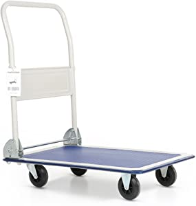 IKAYAA Cart Flatform 330 lb Capacity Four Wheel FoldingWarehouse Push Hand Truck