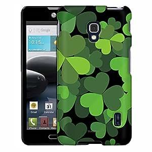 LG Optimus F6 Case, Slim Fit Snap On Cover by Trek Saint Patrick Day Black Green Three Leaf on Black Case