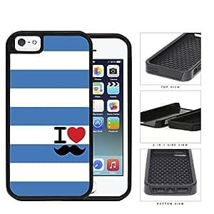 I Heart Mustache Blue Striped 2-Piece Dual Layer High Impact Hard shellSilicone Cell Phone Case Case For Sam Sung Galaxy S5 Mini Cover