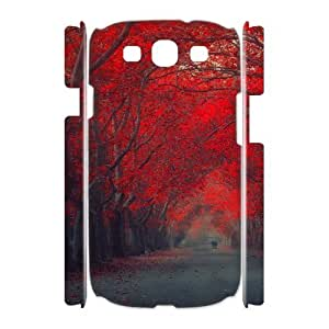 3D Bloomingbluerose Red Flower Samsung Galaxy S3 Cases Red Trees, [White]