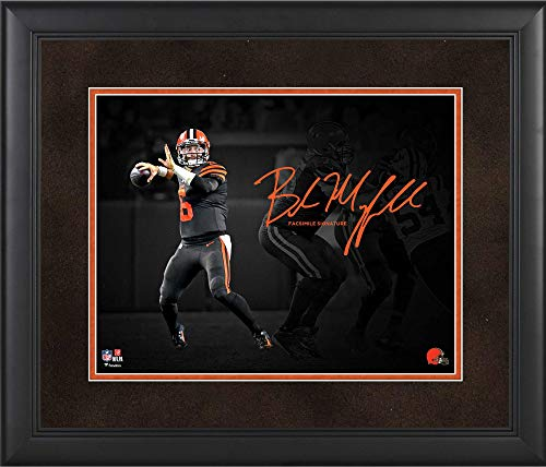 "Baker Mayfield Cleveland Browns Framed 11"" x 14"" Spotlight Photograph - Facsimile Signature - NFL Player Plaques and Collages from Sports Memorabilia"