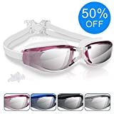 Swimming Goggles, Arteesol Anti Fog Swim Goggles Crystal Clear 180° Panoramic Vision Mirrored 100% UV Protective Coating Protective Case Earplug Adults, Men Kids (4 Colours)