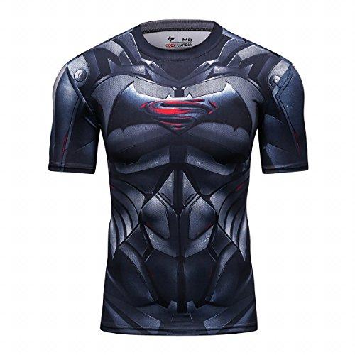 Red Plume Men's Film Super-Hero Series Compression Sports Shirt Skin Running Short Sleeve Tee (M, Bat B) ()
