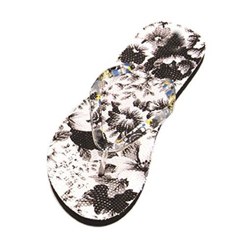 Ouneed Summer Women Sandals, Flowers Sandal Home Toepost Flip Flops Slippers Beach Shoes (41, C)