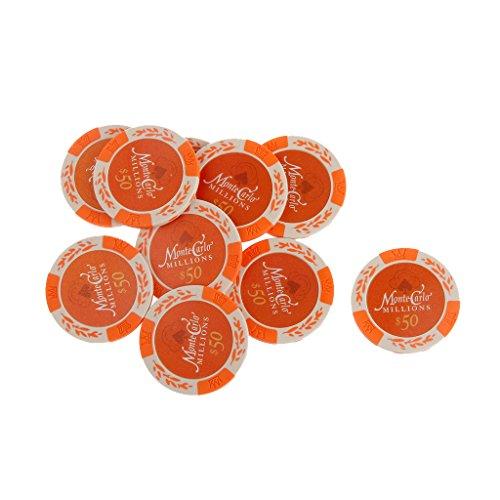 10pcs Monte Carlo Jetons De Poker Etiquette De Casino Chips avec Valeur Dollar 1-10000 - 50, /
