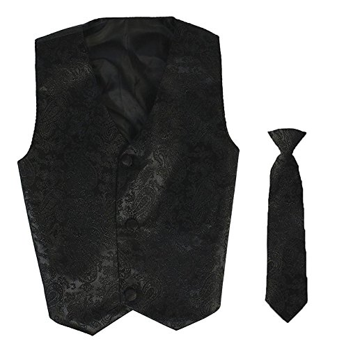 Vest and Clip On Boy Bowtie set - BLACK PAISLEY - Old Style - L/XL