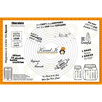 Orange Fondant 18x26 Non-Slip Backing Sticks to Countertop with Conversion Charts Sheet Board Cloth Knead It Silicone Pastry Baking Mat Extra Large 18x26 with Measurements for Rolling Dough