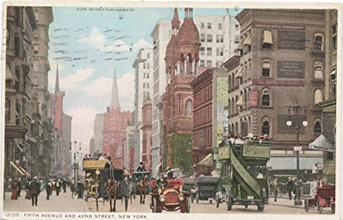 Vintage Postcard Print | Fifth Avenue and 42nd Street, New York, N. Y., 1908 | Historical Antique Fine Art - New Ny 42nd York Street