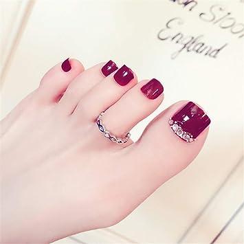 24pcs Uñas postizas, Uñas de los pies Falsa Artificial, Cortas, con Pegamento, para Decoración del Arte del Uñas(rojo): Amazon.es: Belleza