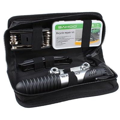 Bicycle Tire Repair Multi-function Tool Kit with Mini Portable Pump - Set of 16
