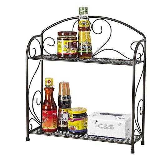 - VANRA Spice Rack Kitchen Countertop Spice Stand Holder Jars Storage Organizer Shelf Rack (Black, 2 Tier)