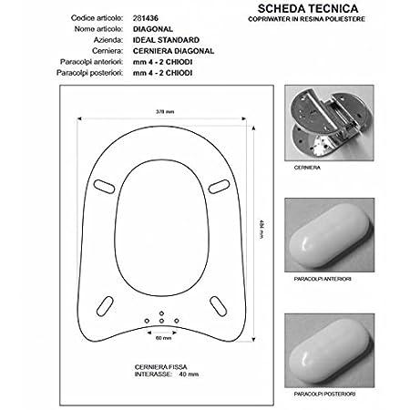 Ideal Standard Diagonal Sedile.Ideal Standard Diagonal White Toilet I S Zip Cromo Sedile Asse
