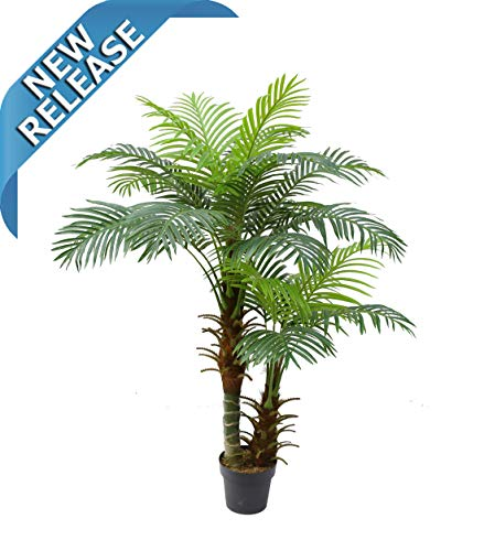 - AMERIQUE Gorgeous and Detailed Double-Headed 5' Tropical Hawaii Palm Tree Artificial Silk Plant with UV Protection, with Nursery Plastic Pot, Super Quality, 5 Feet Green