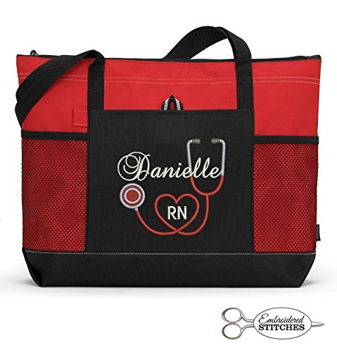 RN, LPN, CNA, Nurse, Medical Personnel Personalized Embroidered Tote Bag with Mesh Pockets, Front Pocket