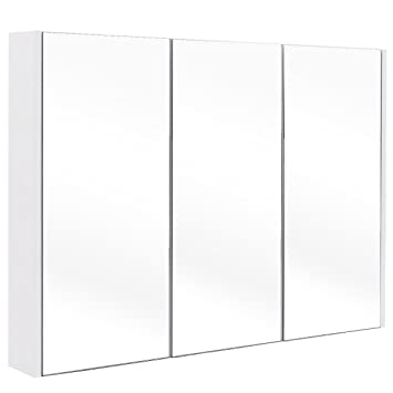 Tangkula 36u0026quot; Wide Wall Mount Mirrored Bathroom Medicine Cabinet  Storage 3 Mirror Door
