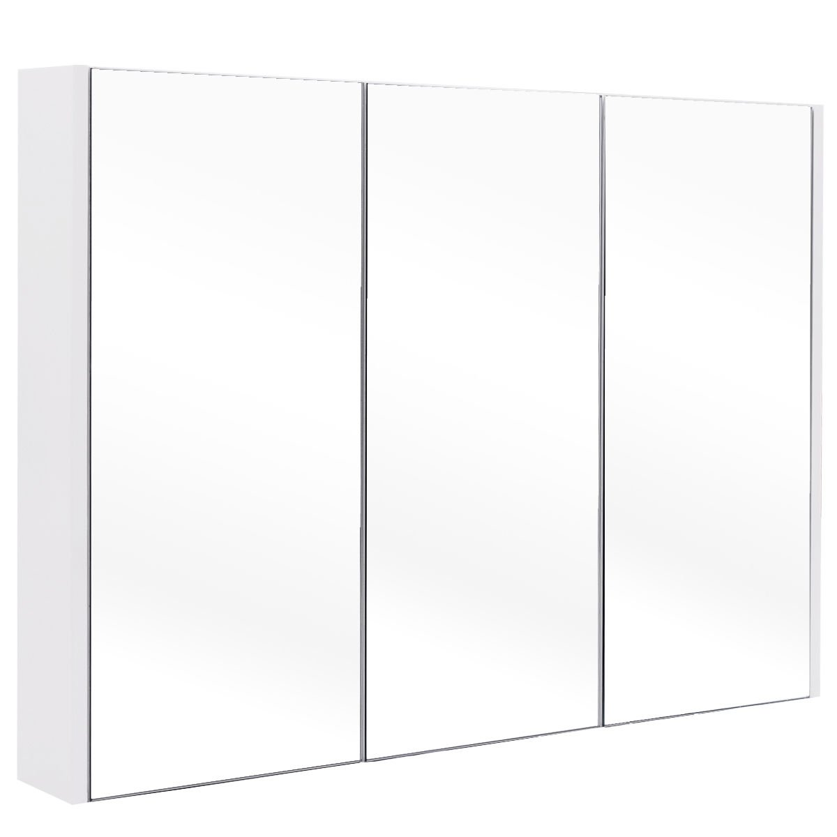 White Wall Mounted Bathroom Cabinet w/ 3 Mirror Doors