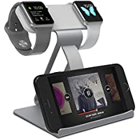 Quameyo 3-in-1 iWatch Aluminum Dual Head Charging Stand (Gray)