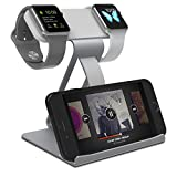 Quameyo 3 in 1 iWatch Charging Stand, Aluminum Dual Head Charging stands Tablet Bracket Phone Stand compatible with iPhone 7 7plus 6S 6plus 5 5s, and iWatch 38mm 42mm Series 3-Gray