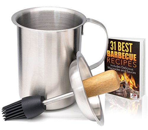 A1PP Marinade Sauce Pot w Silicone Basting Brush – Tailgating Grill Basters - BONUS BBQ Recipes Ebook – Stainless Steel Barbecue Marinaters Tenderizer Set – Barbeque Accessories by A1PP
