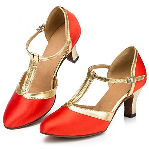 YFF Gift Women Dance Shoes Ballroom Latin Dance Tango Dancing Shoes 8.5cm,Red,33