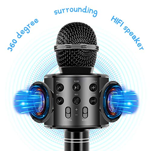 Wireless Bluetooth Karaoke Microphone for Kids Adults, Wrystte 5 in 1 Portable Handheld Karaoke Machine for 4-15 Year Old Girls Boys Birthday Xmas Party(Black)