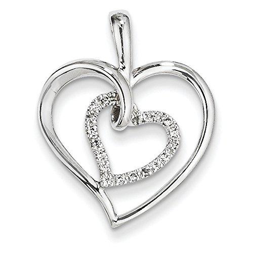 Or blanc 14carats Diamant brut et pendentif double cœur