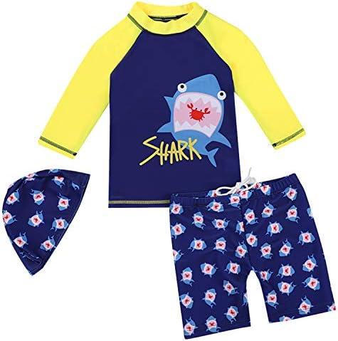 水着 男の子 子供 キッズ プール パンツ 海 サメ ボーダー 長袖 ブルー [Youショップ販売品以外は注意] 年齢2-13歳