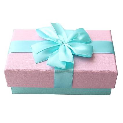 Rectangular Caja de Regalo Rosa Reforzado Cartón Material Seda Arco Decoración Lápiz Labial Perfume Joyería Caja