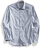 Goodthreads Men's Slim-Fit Long-Sleeve Large-Scale Gingham Shirt, Grey/White, Medium