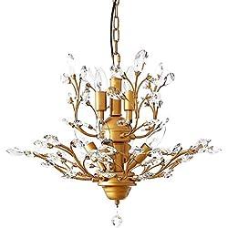 Garwarm 7-Light Vintage Crystal Chandeliers Ceiling Lights LED Light Crystal Pendant Lighting Ceiling Light Fixtures Chandeliers Lighting for Living Room Bedroom Restaurant Porch Chandelier(Bronze)