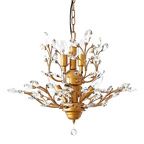 Garwarm 7-Light Vintage Crystal Chandeliers Ceiling Lights LED Light Crystal Pendant Lighting Ceiling Light Fixtures Chandeliers Lighting for Living Room Bedroom Restaurant Porch Chandelier(Bronze)